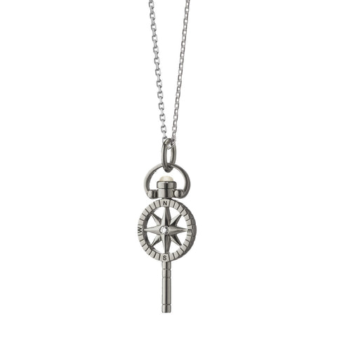 "Monica Rich Kosann Mini ""Travel"" Compass Key with sapphires Sterling Silver pocket watch key necklace 17"""