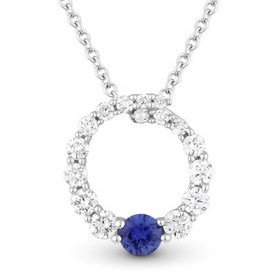 Madison L. Round Circle of Life Diamond & Sapphire Pendant Necklace 14K