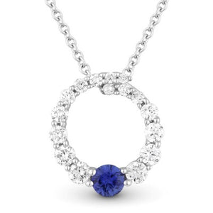 14K Whit Gold Round Circle of Life Diamond & Sapphire Pendant Necklace