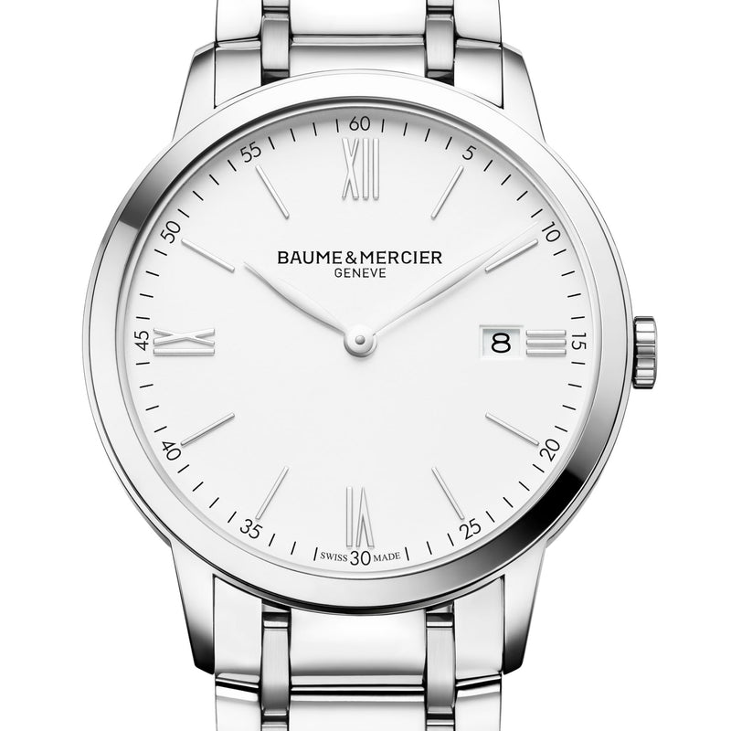 Baume & Mercier 40mm Classima Quartz White Dial Mens Steel Watch 10354