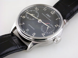 Certified Pre-owned IWC Portugieser Automatic Black 7 Days 42.3mm Watch Steel IW500703