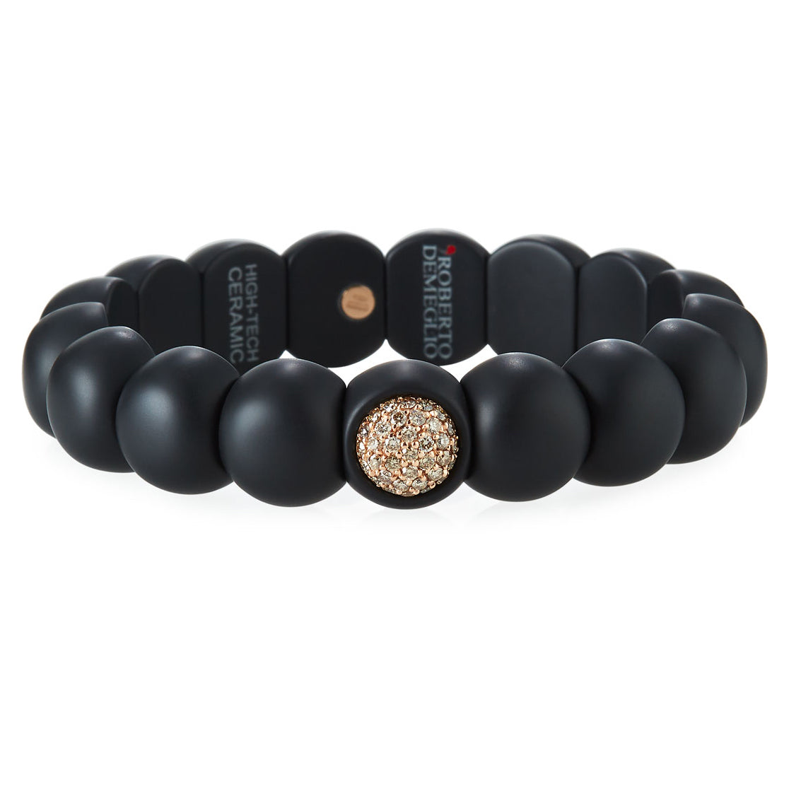 Roberto Demeglio Dama Elastic Stretch Bracelet in Black Matte Ceramic with 18K Rose Gold Champagne Diamonds .48 carats