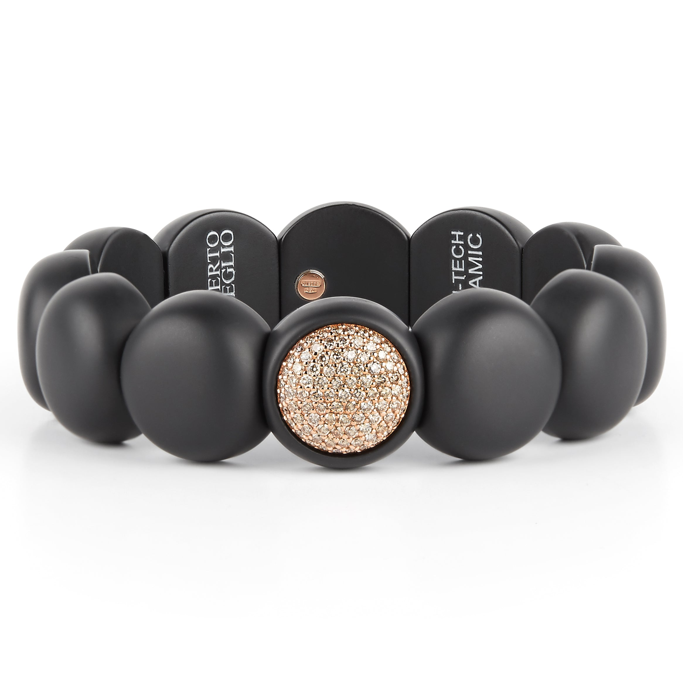 Roberto Demeglio Dama Elastic Stretch Large Bracelet in Black Matte Ceramic with 18K Rose Gold Champagne Diamonds .88 carats