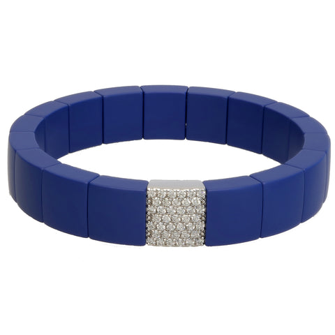 Roberto Demeglio Domino Blue Matte Ceramic Single Row 11mm Wide Bracelet with Diamonds