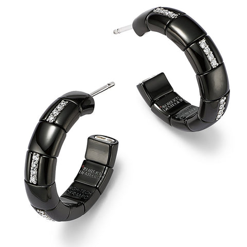 Roberto Demeglio 18K White Gold & Glossy Black Ceramic Pura Alternating Diamond Hoop Earrings