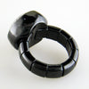 Roberto Demeglio Dama Elastic Stretch Large Ring in Black Shiny Ceramic with Round Diamonds