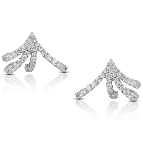 Doves Diamond Cuff Earrings in 18K White Gold E8863