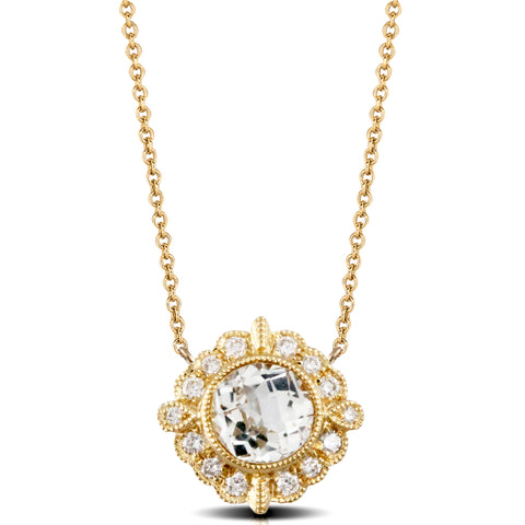 Doves White Topaz & Diamond Yellow Gold Necklace N8790WT