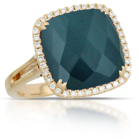 Doves Midnight Ocean Blue Topaz over Hematite & Diamond Cushion Halo Gold Ring