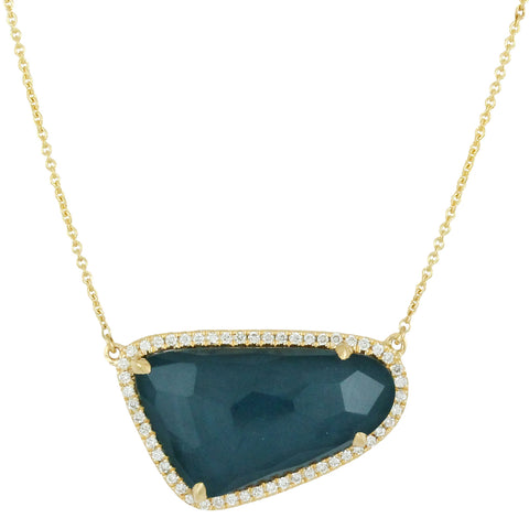 Doves Midnight Ocean Free Form Blue Topaz over Hematite & Diamond Halo Gold Necklace