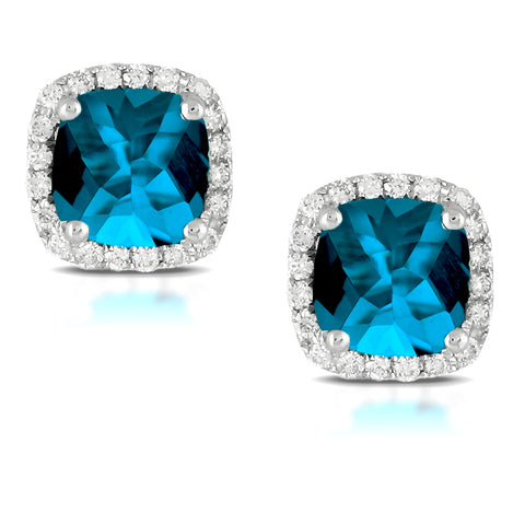Doves London Blue Square Cushion Topaz & Diamond Halo Stud Earrings