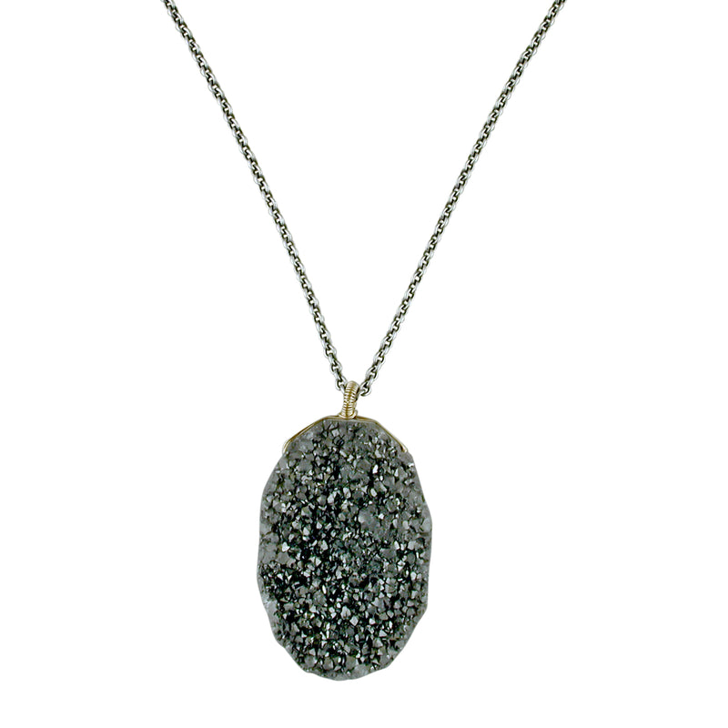 Dana Kellin Fine Druzy Quartz Oval Pendant Necklace