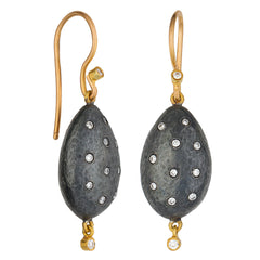 "Lika Behar ""Amanda"" Almond Drop Dangle Earrings Sterling & 24K Solid Gold with Diamonds AD-E-122-GOXD-9"