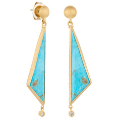 "Lika Behar ""My World"" Earrings with Triangle Kite Shape Kingman Turquoise & Cognac Diamonds 24K Gold MY-E-205"