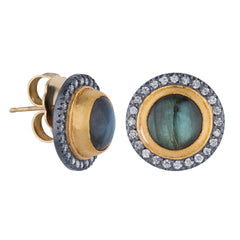 "Lika Behar ""Nightfall"" Labradorite Stud Earrings Sterling & 18K Yellow Gold with Diamonds NF-E-300-GOXDLAB-1"