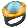 "Lika Behar ""Pompei"" Blue Topaz Mother of Pearl Oval Doublet Ring 24K Gold & Oxidized Silver"