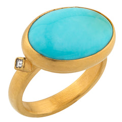 "Lika Behar ""Katherine"" Ring in 22K Gold with Arizona Turquoise & Diamonds"