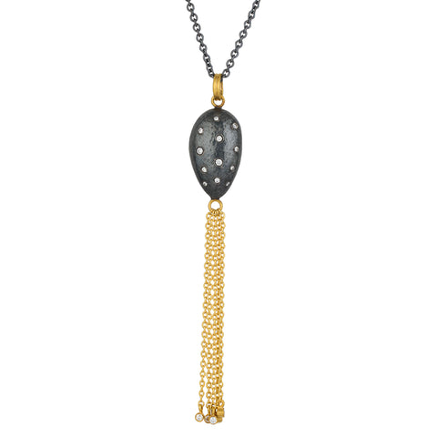 "Lika Behar ""Amanda"" Almond Drop Pendant Necklace Sterling & 24K Solid Gold with Diamonds AD-N-102-GOXD-22"