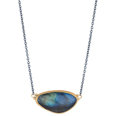 "Lika Behar ""Katya"" Freeform Labradorite 24K Gold & Oxidized Silver Necklace Pendant"