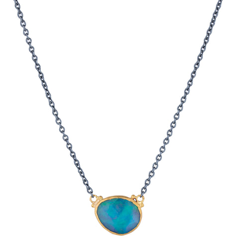 "Lika Behar ""Katya"" Rose Cut White Opal Pendant Necklace 24K Gold & Oxidized Silver"