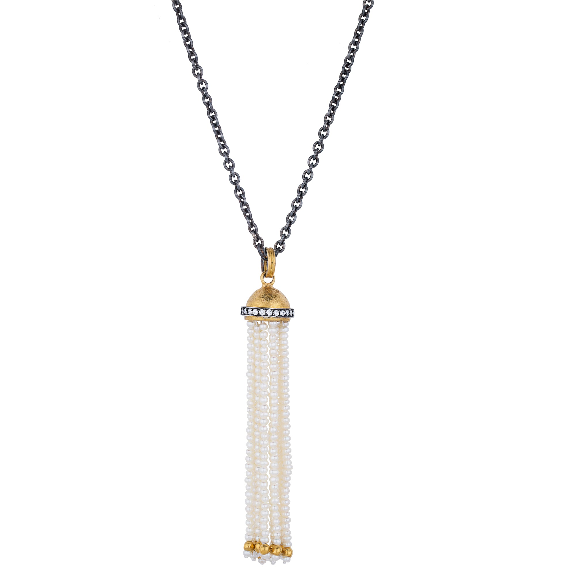 "Lika Behar ""Domus"" Pearl Tassel Pendant Necklace Sterling & 24K Solid Gold with Diamonds DO-N-101-GXDPE-11"