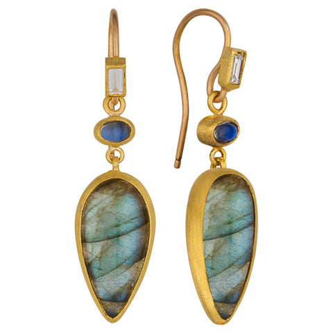 "Lika Behar ""Miro"" Dangle Drop Earrings with Pear Labradorites & Rainbow Moonstones Silver & 24K Gold"