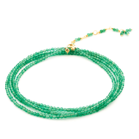 "Anne Sportun Green Onyx (Chalcedony) Beaded Wrap Bracelet & Necklace 34"" B098G-GR-ON"