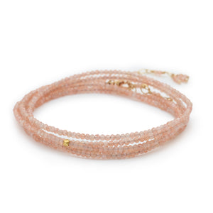 "Anne Sportun Pink Blush Moonstone Beaded Wrap Bracelet & Necklace 34"" B098G-BLUSHMOON"