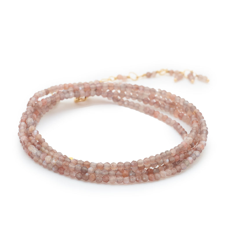 Pink Mink Moonstone Beaded Wrap Bracelet & Necklace 34