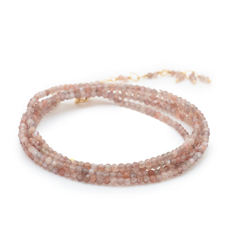 Pink Mink Moonstone Beaded Wrap Bracelet & Necklace 34""