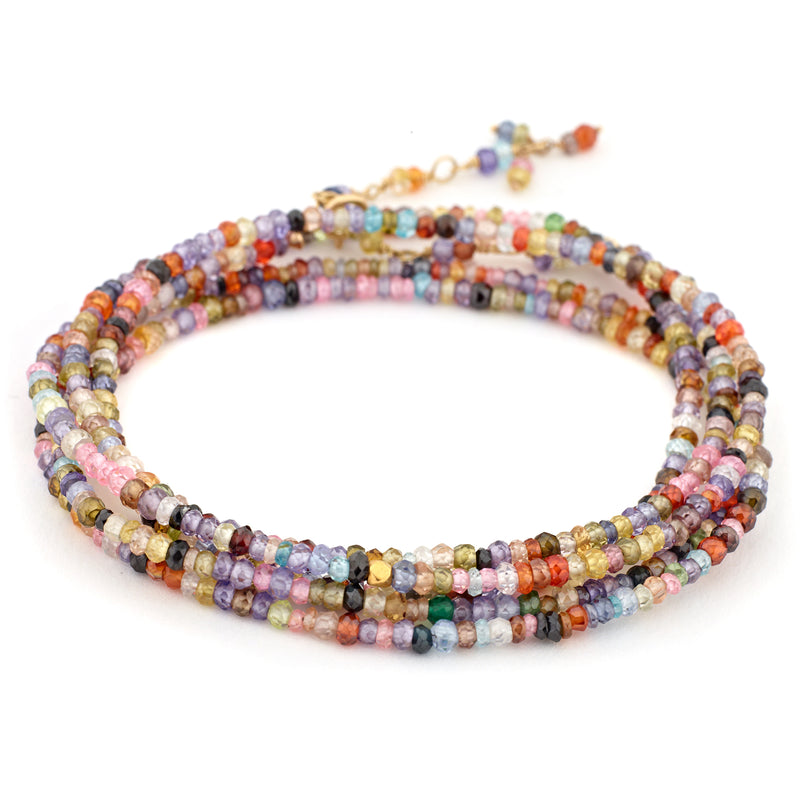 Anne Sportun Wrap Bead Bracelet/Necklace with Multi-Colored Cubic Zirconia