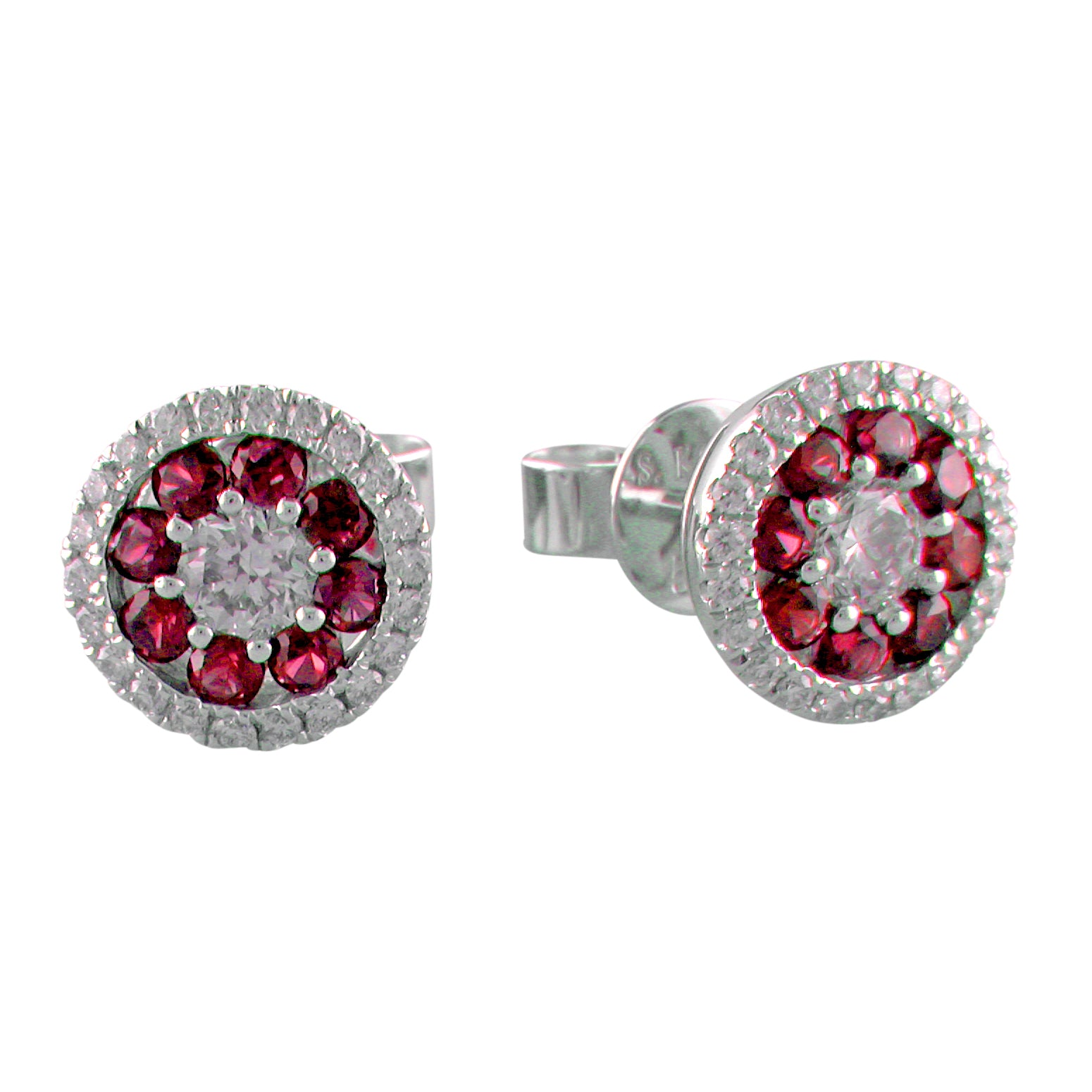 S. Kashi Ruby & Diamond Round Halo Cluster Stud Earrings 14K White Gold