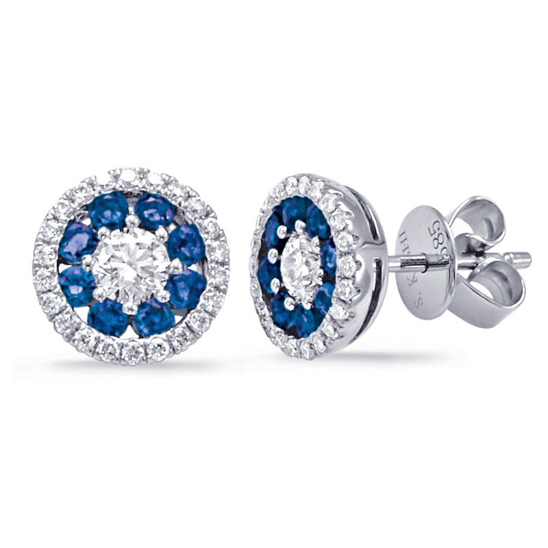 14K White Gold Sapphire & Diamond Round Halo Cluster Stud Earrings