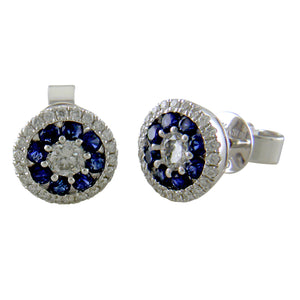 S. Kashi Sapphire & Diamond Round Halo Cluster Stud Earrings 14K White Gold