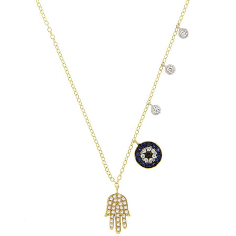Meira T Pave Hamsa & Evil Eye14K Yellow Gold Necklace with Diamonds 1N6059/TY