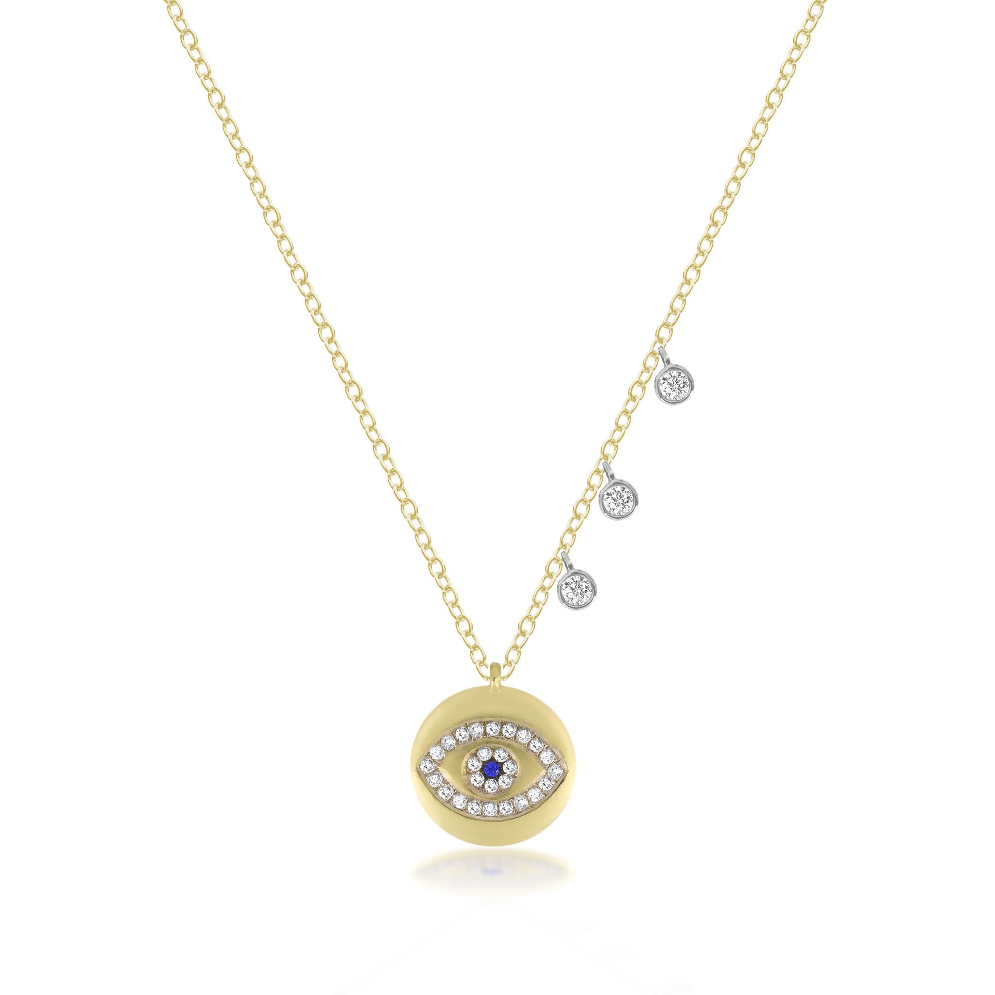 Meira T Evil Eye Yellow Gold Necklace with Diamonds 1N7521/YG