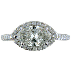 Marquise Shape Brilliant 1.25 Carat Diamond Platinum Diamond Halo Engagement Ring