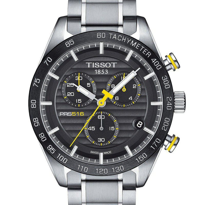 TISSOT PRS 516 Chronograph Black & Yellow Dial Watch T1004171105100