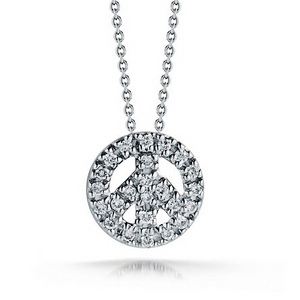 Roberto Coin Tiny Treasures Diamond Baby Peace Sign Necklace White Gold