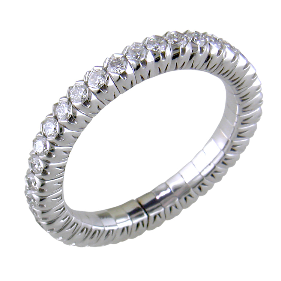 Mattioli X-Band Celebration Stretch Diamond Eternity Band Ring 18K ITALY .80 carats tw