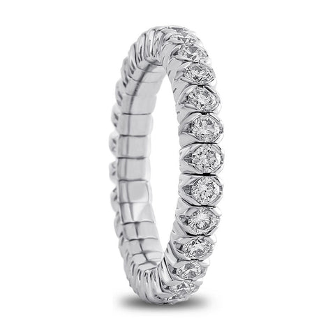 Mattioli X-Band Celebration Stretch Diamond Eternity Band Ring 18K 1.26 carats tw