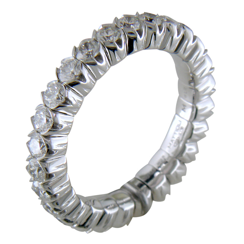Mattioli X-Band Celebration Stretch Diamond Eternity Band Ring 18K ITALY 1.72 carats tw
