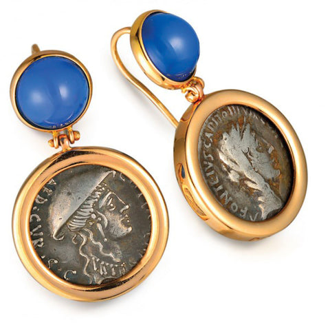 1884 Roma Plancius & Didius 55 A.D. Original Silver Coin Earrings in 18K Gold with Cabochon Agate