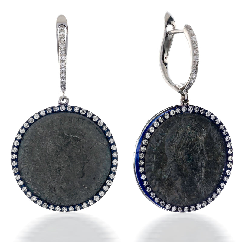 "1884 ""Costantio I, Period 306-337 A.D."" Original Bronze Coin Earrings 18K White Gold Blue Titanium with Diamonds"