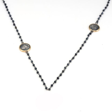 1884 Collection Bronze Roman Coins Blackened Silver Pendant Necklace with Spinel Beads
