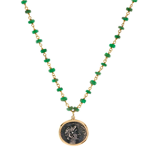 1884 Antonino Pio Original Bronze Roman Coin 18K Yellow Gold Pendant Necklace with Emerald Beads
