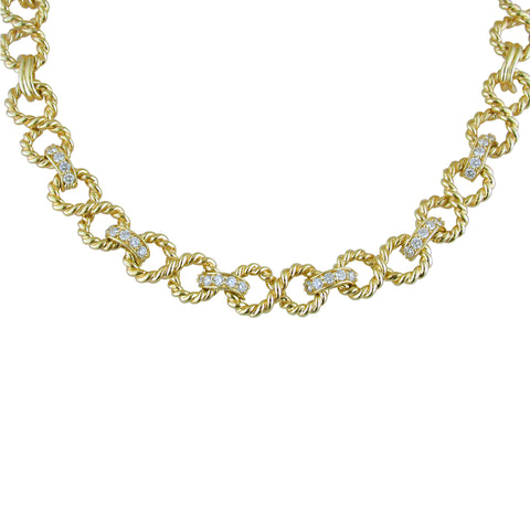 Vintage Estate Tiffany & Co. Infinity Figure 8 Rope Link 18K Yellow Gold Diamond Necklace