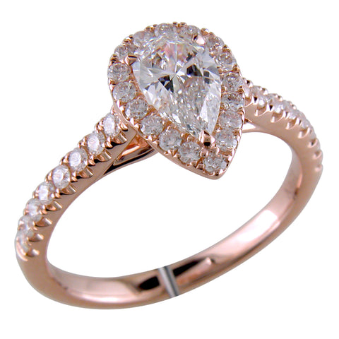 Pear Shape Brilliant 3/4 Carat Diamond 18K Rose Gold Point of Love Engagement Ring