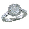 Round Brilliant 1 Carat Diamond Scalloped Platinum Point of Love Engagement Ring