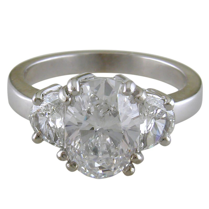 Oval Brilliant 2.82 Carat Diamond with Half Moon Side Diamonds White Gold Engagement Ring